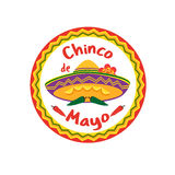Chinco de Mayo. Mexican Fiesta holiday Cinco de Mayo. Freehand drawn fancy cartoon style. Decorative round frame badge. Festival celebration traditional symbols stock illustration