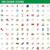 100 chine icons set, cartoon style Stock Image