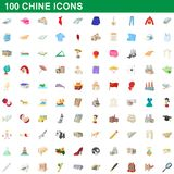 100 chine icons set, cartoon style. 100 chine icons set in cartoon style for any design illustration stock illustration