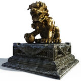 Chine_lion. Sculpture of the Chinese lion on postomente, guard of city Stock Image