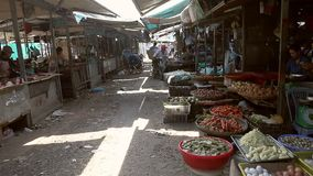 Chinees农贸市场 许多种类食物adn果子 股票视频