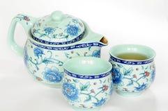 Chinees aardewerk teaset Stock Afbeelding