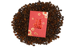 Chinees Ang Pao And Coffee Bean Stock Foto