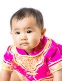Chinees babymeisje met traditioneel kostuum royalty-vrije stock foto