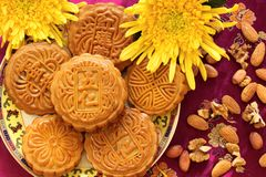 Chinees beroemd voedsel--Mooncakes Stock Afbeeldingen