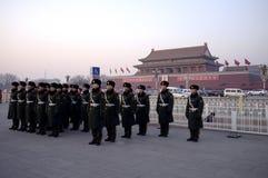 Chinees controleert status voor Tiananmen-Vierkant, Peking Royalty-vrije Stock Foto's