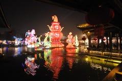 2014 Chinees de markt en de lantaarnfestival van de Nieuwjaartempel Stock Foto