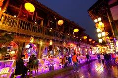 2016 Chinees de markt en de lantaarnfestival van de Nieuwjaartempel in Chengdu Stock Foto's