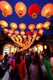 2016 Chinees de markt en de lantaarnfestival van de Nieuwjaartempel in Chengdu Stock Afbeeldingen