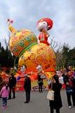 2016 Chinees de markt en de lantaarnfestival van de Nieuwjaartempel in Chengdu Stock Foto