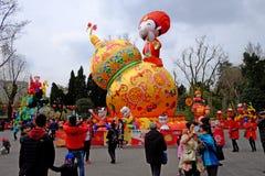 2016 Chinees de markt en de lantaarnfestival van de Nieuwjaartempel in Chengdu Stock Fotografie