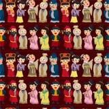 Chinees de mensen naadloos patroon van het beeldverhaal Stock Fotografie