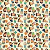 Chinees de mensen seamlese patroon van het beeldverhaal Royalty-vrije Stock Afbeeldingen