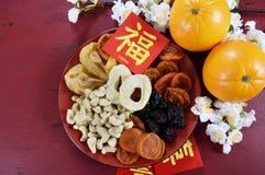 Chinees de partijdienblad van de Nieuwjaarviering van samenhorigheid Stock Afbeelding