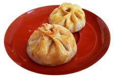 Chinees die gebakje met geroosterd rood varkensvlees wordt gebakken Royalty-vrije Stock Fotografie
