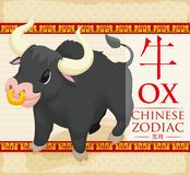 Chinees Dierenriemdier: Sterke Os met Gouden Neusring, Vectorillustratie Royalty-vrije Stock Fotografie