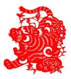 Chinees document dat voor tijgerjaar wordt gesneden van 2010 Royalty-vrije Stock Afbeeldingen