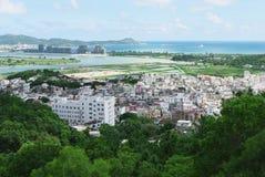 Chinees dorp dichtbij de oceaan Royalty-vrije Stock Foto