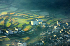 Chinees dorp en terras Royalty-vrije Stock Foto