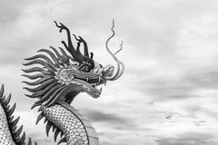 Chinees draakstandbeeld, bewolkte achtergrond Royalty-vrije Stock Afbeeldingen