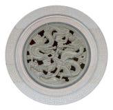 Chinees draakstandbeeld op steen in de cyclus royalty-vrije stock afbeeldingen