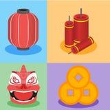 Chinees element grafisch in vlakke ontwerpstijl Stock Foto's
