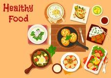 Chinees en Russisch de schotelspictogram van het keukendiner stock illustratie