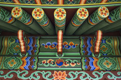 Chinees etnisch geschilderd houten blokhuis Stock Afbeelding