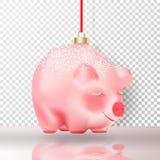 Chinees Gelukkig het Nieuwjaarsymbool van 2019 Realistisch de Snuisterij roze varken van het Kerstmisdecor met witte sneeuw en go stock illustratie