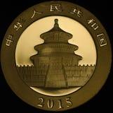 Chinees Gouden Panda Coin 2015 Royalty-vrije Stock Afbeeldingen