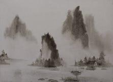 Chinees het schilderen Bergwater en een boot royalty-vrije illustratie