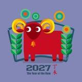 Chinees Jaar van de Ram 2027 Stock Afbeelding