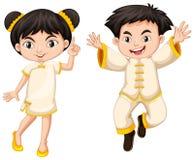 Chinees jongen en meisje in traditioneel kostuum vector illustratie