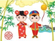 Chinees Karakter en Elementen Vectorillustratie Stock Afbeeldingen