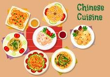 Chinees keukenpictogram voor het ontwerp van het restaurantmenu royalty-vrije illustratie