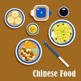 Chinees keukenvoedsel, snacks en drank vector illustratie