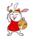 Chinees konijn met gong Stock Afbeelding
