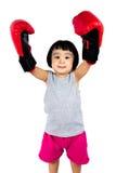 Chinees meisje die bokshandschoen dragen Stock Afbeelding