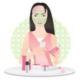 Chinees meisje met kosmetisch masker royalty-vrije illustratie