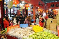 Chinees nieuw jaar dat in chengdu winkelt Royalty-vrije Stock Afbeeldingen
