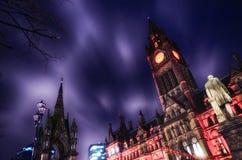 Chinees Nieuw jaar de nachtscène van het stadhuis van Manchester stock foto