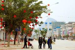 Chinees nieuw jaar in Jingxi, China Stock Foto
