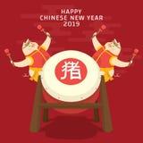 Chinees nieuw jaar 2019 met het karakterviering van het varkensbeeldverhaal op vakantie Vertaal: varken royalty-vrije stock afbeeldingen