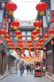 Chinees nieuw jaar in oude straat Jinli Stock Foto