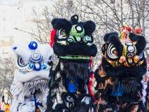 Chinees nieuw jaar 2019 Parijs Frankrijk - Leeuw het dansen royalty-vrije stock foto's