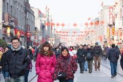 Chinees nieuw jaar, Peking Qianmen commerciële st Royalty-vrije Stock Foto's