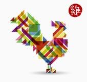 Chinees nieuw jaar van ontwerp van de haan het abstracte kleur vector illustratie