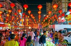 Chinees Nieuwjaar in Chinatown van Yangon, Myanmar stock fotografie
