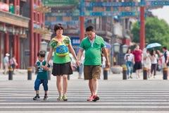 Chinees paar met kind, Peking, China Stock Afbeeldingen