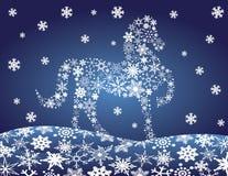 2014 Chinees Paard met de Wintersc van de Sneeuwvlokkennacht Stock Afbeelding